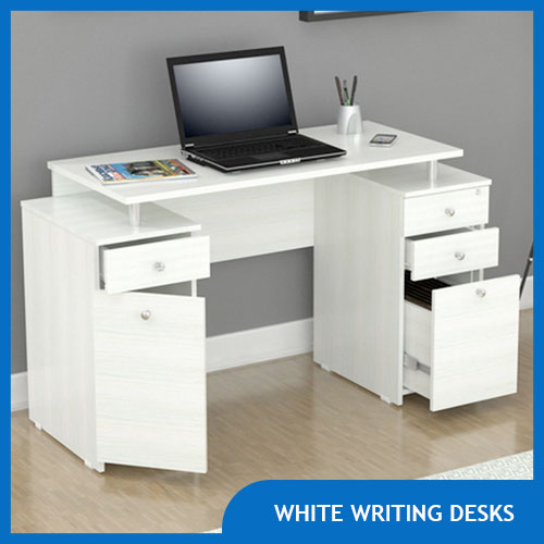 White Writing Desk with Drawers