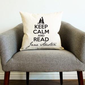 Keep Calm and Read Jane Austen Pillow
