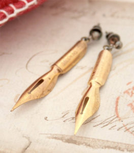 Fountain Pen Earrings Writer Gift