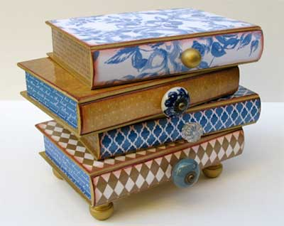 stack of books jewelry box