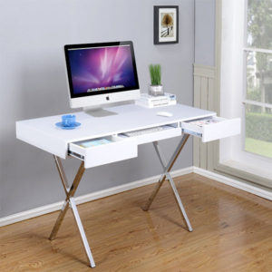 style writing desk with chrome legs
