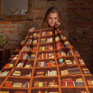 Library Bookshelf Blanket