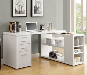 Monarch Specialties White Corner Desk with Drawers