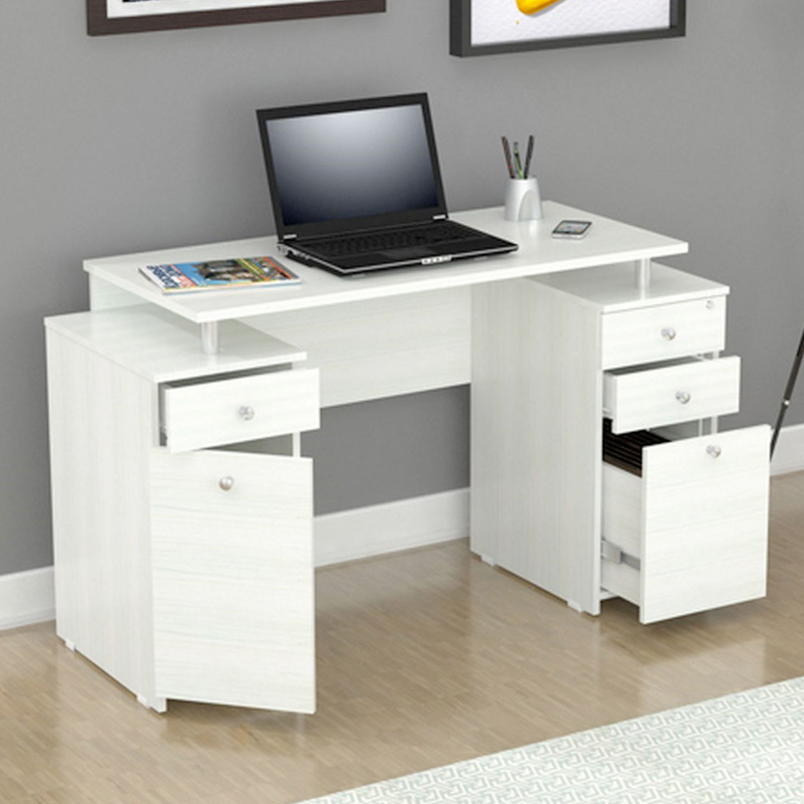 White Desks With Drawers