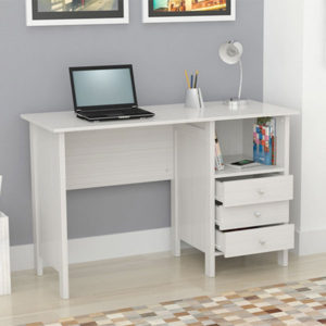 White Computer Desk with Shelf and Drawers