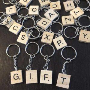 Scrabble Keychain Letter Tile Gift Idea