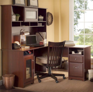 Cabot Collection Corner L-Desk with Hutch