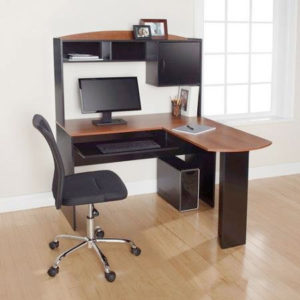 Corner L Shaped Office Desk with Hutch