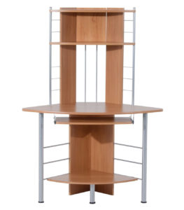 >HomCom Arch Tower Corner Desks with Hutch