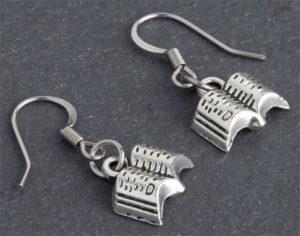 Open Book Silver Earrings