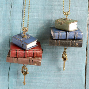 Handmade Stack of Books Necklace
