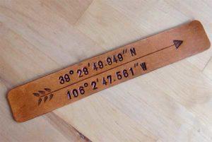 Longitude Latitude Leather Bookmark