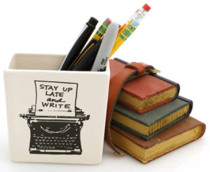 Stay Up Late & Write Typewriter Pencil Holder