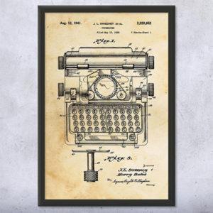 Sweeney Typewriter Patent Print