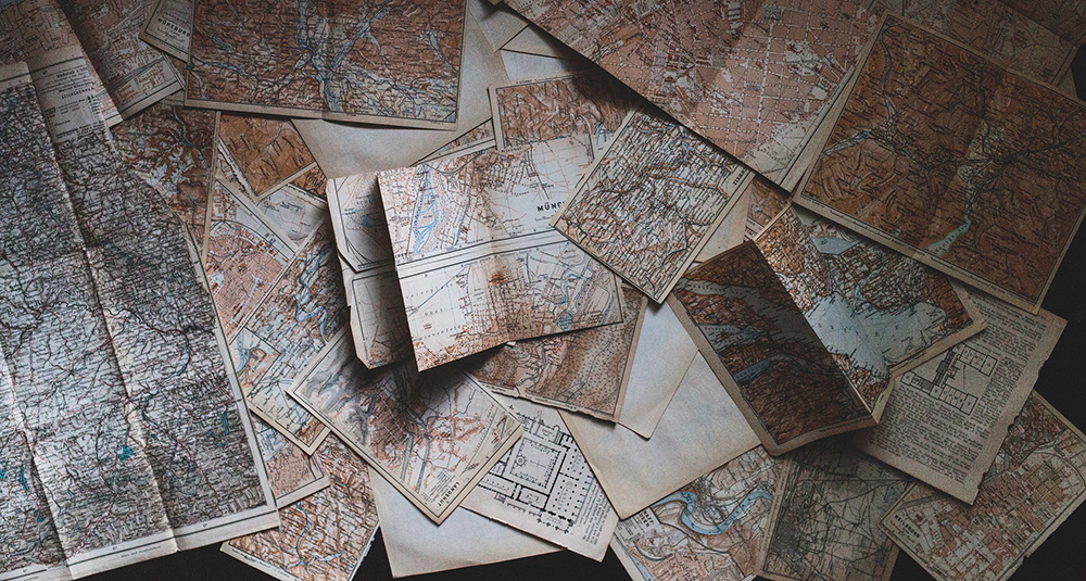 Maps Recycled Wrapping Paper